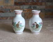 Vintage pair of small Japanese vases with quail design - Japanese quail - made in Japan - porcelain vase