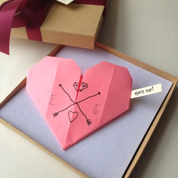 romantic origami heart proposal