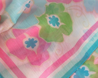 "Scarf Sheer Turquoise Pink White Floral Poly Scarf 26"" Square - Affordable Scarves!!!"