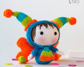 Tanoshi Lucky Doll with removable wings - pdf knitting pattern. Catch the wing of luck!