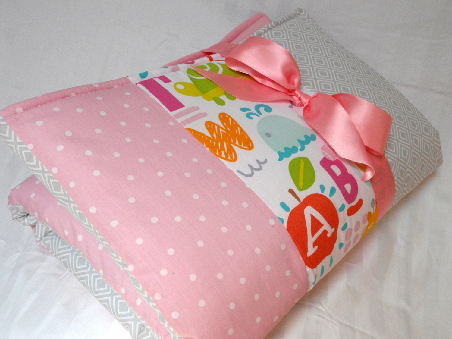 baby play mat padded floor blanket personalize pink gray
