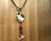 Steampunk Jellyfish long focal tassel dangle necklace on leather - Oregon opals and rock crystal