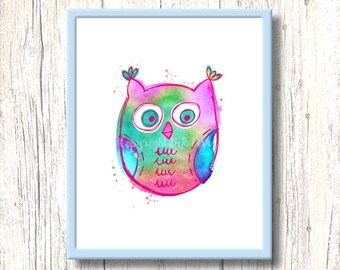 Nursery art print WATERCOLOR OWL. Printable bird kids room illustration. Colorful wall decor. Digital download. pink turquoise blue graphics