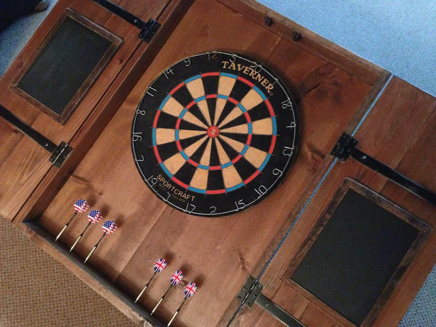 Rustic Dart Board Cabinet with Custom Hand-Painted Graphics