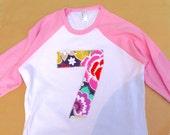 Girls 6th Birthday for 7 year old- Modern Flower 7 on Girls Pink and White Raglan-  Number Birthday Shirt