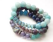 Peruvian amazonite bracelet Czech glass bracelet ocean blue bracelet stretch bracelet bohemian bracelet colorful bracelet boho chic bracelet