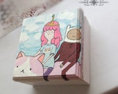 OOAK Handpainted Wooden box Princess Bubblegum and Finn, trinket box, treasure box
