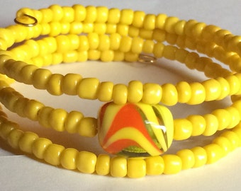 "Colorful ""Mellow Yellow"" Beaded Memory Wire Bracelet"