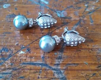 Vintage Rhinestone Bead Clip Earrings