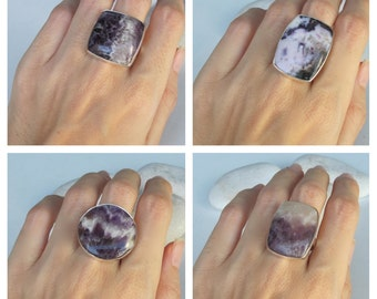 Amethyst Ring- Unique February Birthstone Ring- Minimalist Smooth Purple Gemstone Ring-Purple Stone Sterling Silver Ring