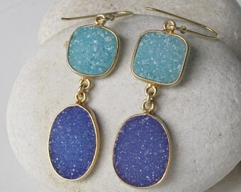 Blue Gemstone Earring- Gemstone Earring- Blue Earring- Statement Earring- Crystal Earring- Silver Earring- Quartz Earring-