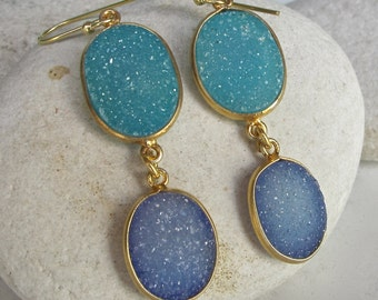 Real Druzy Gold Earring Dangle Long Handmade Blue Druzy Double Drop Oval Boho Bohemian Earring