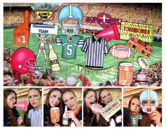 Football and/or Super Bowl photo booth props perfect for your tailgate party or the big game day