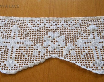 "ALTAR LACE -Handmade lace crochet trim ""cross and flowers"", crochet lace  edgings, Church Lace, lace crochet filet,vintage style"