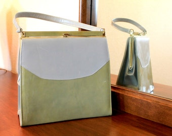 1960's Pale Gray and Pea Green Color Block Purse, Betty Draper /Joan Holloway Handbag
