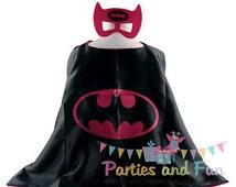 Girl Super hero Costume, Girl Superhero Cape, Pink Bat Costume, Batgirl Cape, Super hero Mask, Girl Superhero Costume, Girl Superhero Party