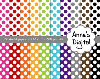 "Polka Dot Digital Papers - Matching Solids Included - 30 Papers - 8.5"" x 11"" - Instant Download - Commercial Use (139)"