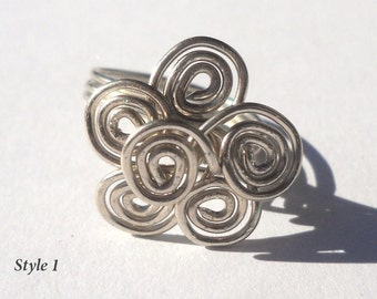 Silver Wire Spiral Flower Ring