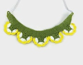 Crochet Necklace Crochet Flower Necklace , Yellow and white oya Flowers , Flower pendant Necklace, Unique crochet Jewelry, knitted summer Ne
