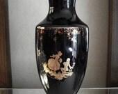 "Large Limoges Cobalt Courting Scene Vase, 13.75"", Very Rare"