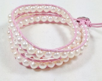 Pearls in Pink Wrapping Bracelet JUNE BIRTHSTONE Hand Woven Adjustable Handmade Jewelry by NorthCoastCottage Jewelry Design & Vintage