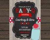 12 BaBy  Q Shower invitations with envelopes - Baby Shower BBQ