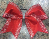 """3"""", 3 inch cheer cheerleader bow-red spandex with an outline rhinestone pattern"""