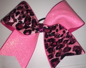 """Cheer Bows for sale; 3"""", 3 inch cheer bow with ponk glitter and pink velevet cheetah leopard on grosgrain ribbon"""