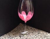 Pink Tulip hand painted wine glass, flower wine glass,hand painted wine glass,pink flower wine glass
