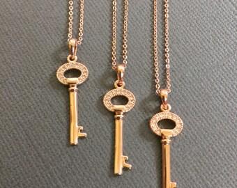 Set of 3, Bridesmaid key necklace, key pendant necklace, bridesmaid gifts, key charm, bridesmaid jewelry, weddings, bridal party