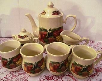 Vintage Fruit and Veg Motif TeaPot,Cream and Sugar Bowl, and 4 Mug Set