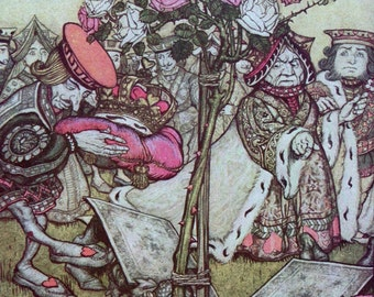 1907 ALICE in WONDERLAND Painting the Roses Red Arthur RACKHAM Doublesided Print Ideal for Framing