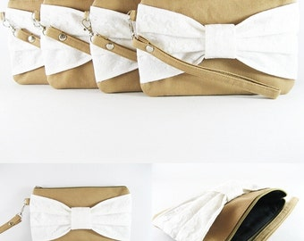 SUPER SALE - Set of 6 Wedding Clutches, Bridesmaids Clutches / Tan with Ivory Lace Bow Clutches - Made To Order
