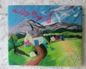 large textile art picture, felt and stitch, pet sheep, 20 x 16 inches