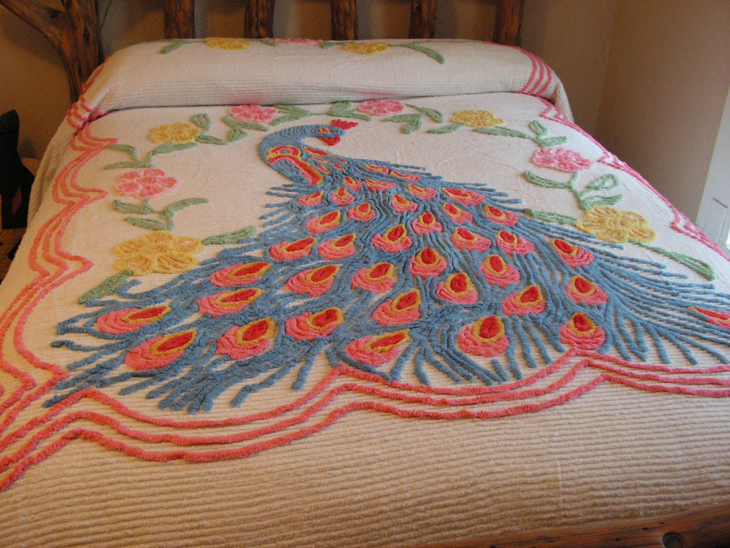 Vintage chenille peacock bedspread by buffalogalsgallery on etsy - Peacock bedspreads ...