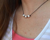 Pearl Necklace, 3 Pearl Necklace, 3 Pearl Knotted Leather Necklace, Leather & Pearl Necklace,Freshwater Pearl/Leather Necklace