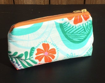 Teal Floral Pouch