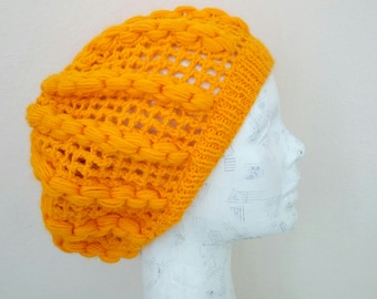 Mustard Yellow Slouchy Beanie-Autumn Color Crochet Hat -Womens Hat -Autumn Accessories-Hand Made Hat