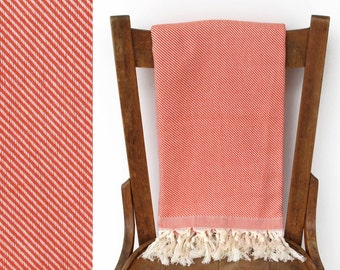 Handwoven Cotton Throw Blanket Turkish Towel Turkish Bath Towels Beach Wrap Picnic Blanket Shawl Beach Towel Cream Orange SPLENDID PESHTEMAL