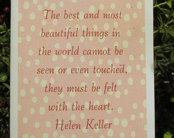 Felt With The Heart Helen Keller Quote Everyday Greeting - FREE SHIPPING