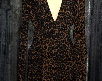 50s style leopard dress, size XS