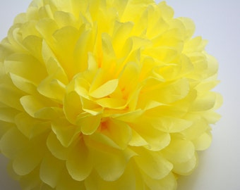 One Yellow Tissue paper Pom Poms // Wedding Decorations // Party Decorations // Pom Poms