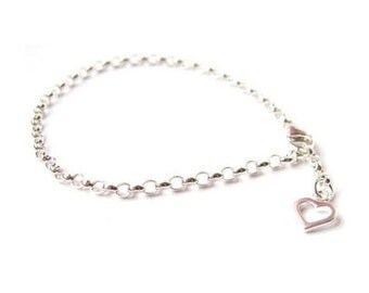 Bracelet with an Open Heart Charm - Sterling Silver (925) Chain - Perfect for Stacking/Layering with other Bracelets