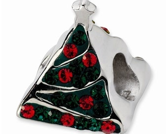 Sterling Silver Green/Red Crystal Christmas Tree Bead