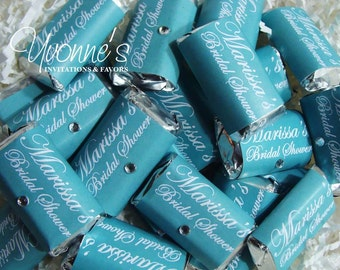 Aqua Blue - Teal Bling Mini Candy Bar Wrappers - Miniature Chocolate Favors - Wedding, Bridal Shower, Sweet Sixteen, Birthday (Batch of 40)