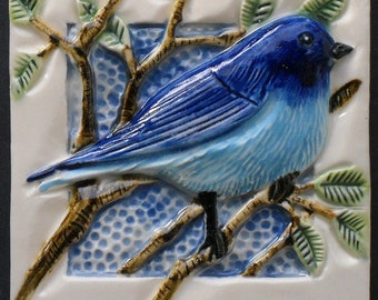 Hand Made Bluebird Tile