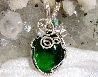 Green Pendant, Glass Button Pendant, Wire Wrapped with Solid Sterling Silver 935 Argentium Anti tarnish wire