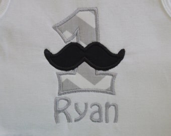 Mustache Birthday Themed Personalized Bodysuit 1st, 2nd-5th available