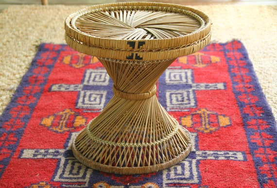Vintage Rattan Wicker Plant Stand 1960 S Woven Round