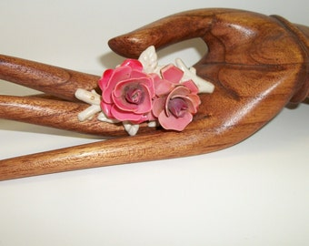 Vintage Celluloid Plastic Brooch Roses1940's Hand Painted Flowers Brooch Pin